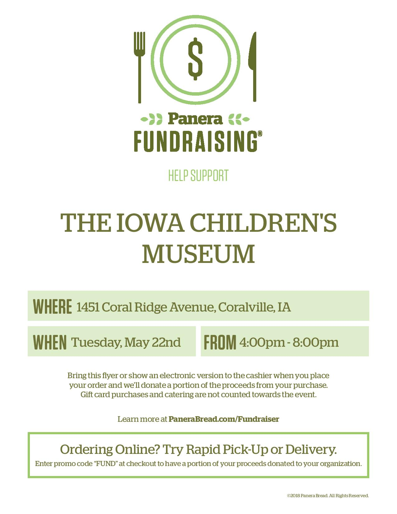 Dine Out for Play Fundraiser at Panera Bread - Iowa Children\'s Museum
